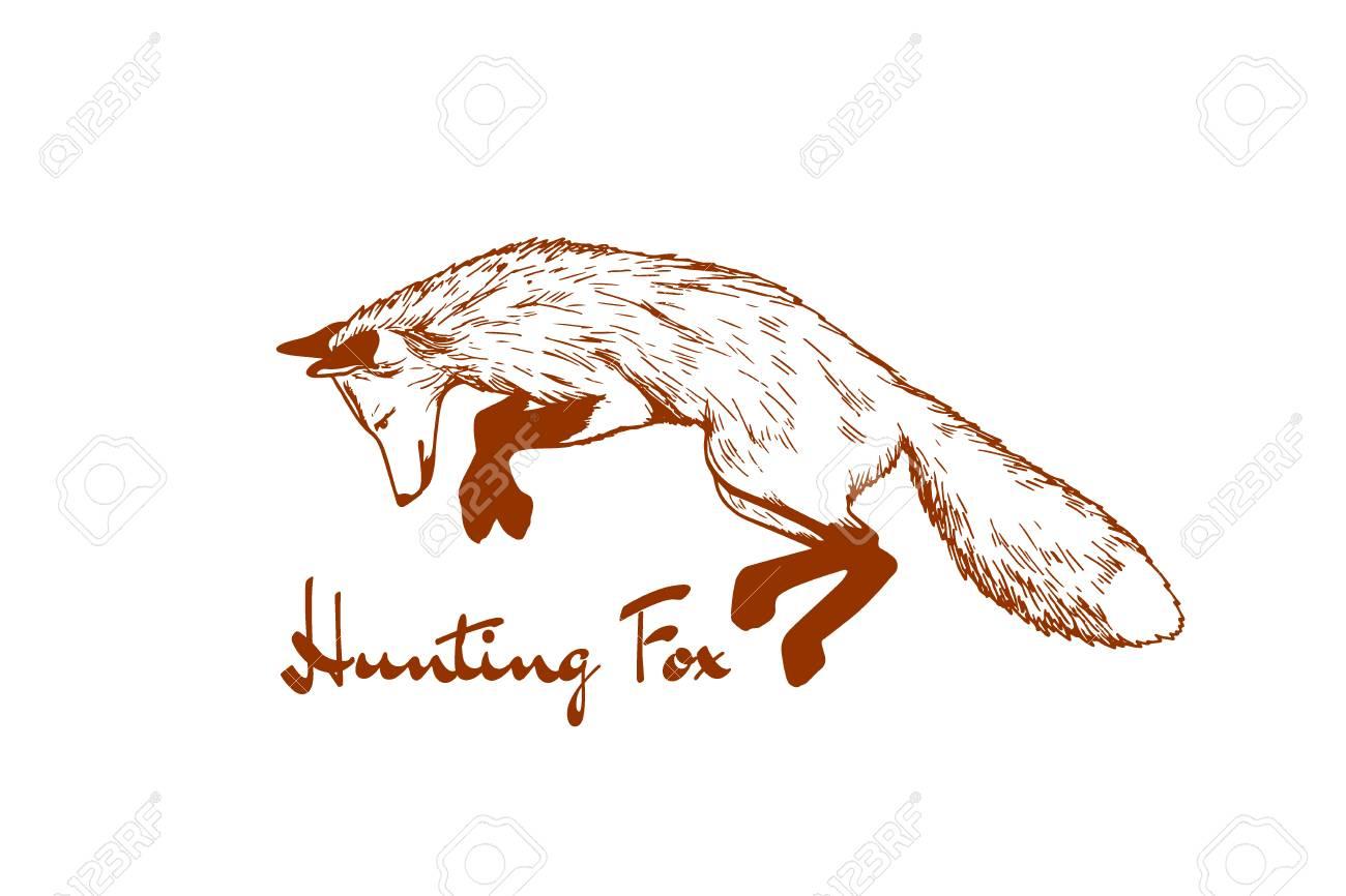 手描きペンとインクで作ったキツネの狩猟ベクトル カード。フォックス