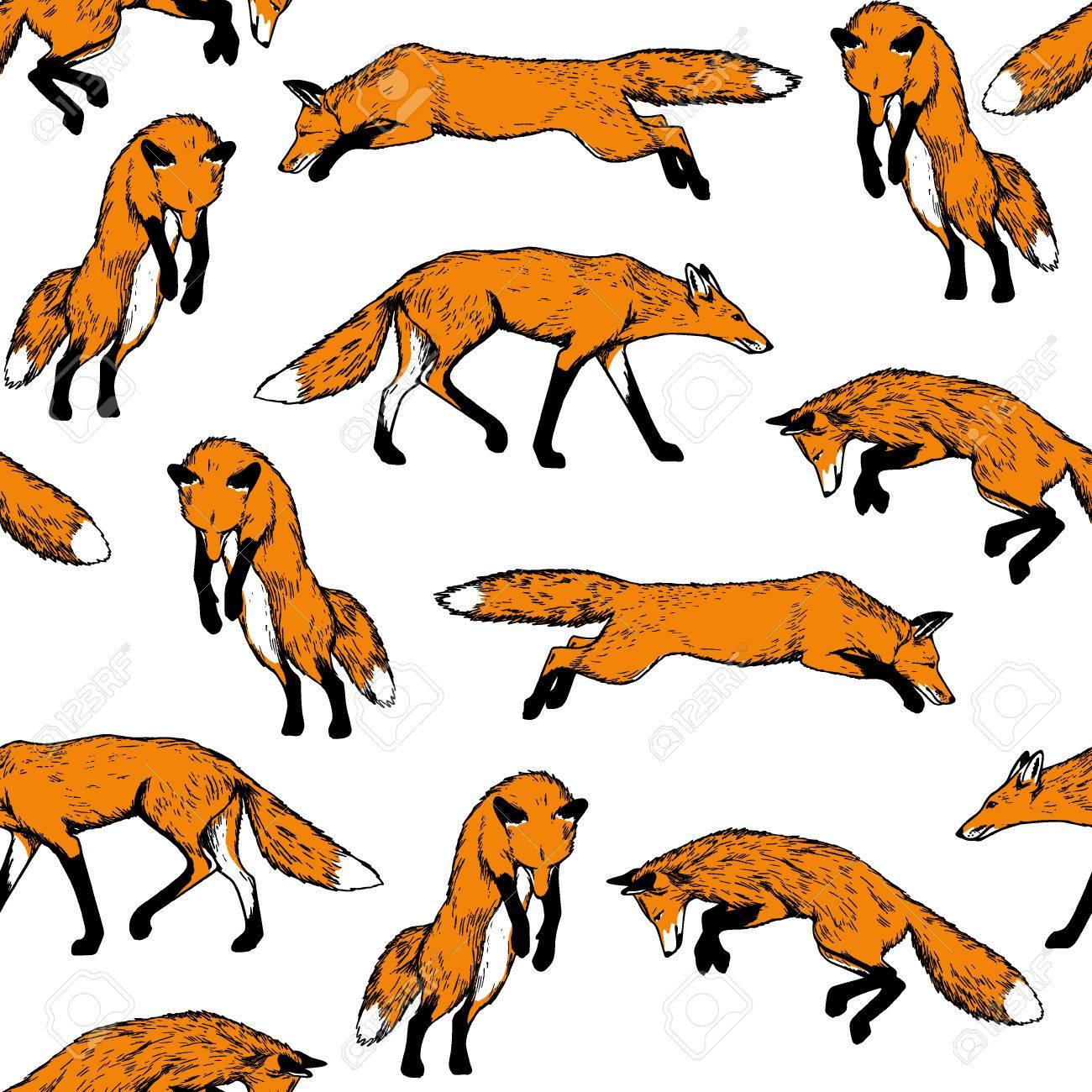 手描きペンとインクで作ったキツネの狩猟とシームレスなパターンを