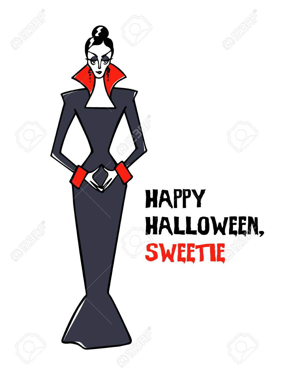 Vector halloween greeting card with hand drawn vampire lady vector vector halloween greeting card with hand drawn vampire lady attractive elegant vampire woman in an old fashioned dress m4hsunfo