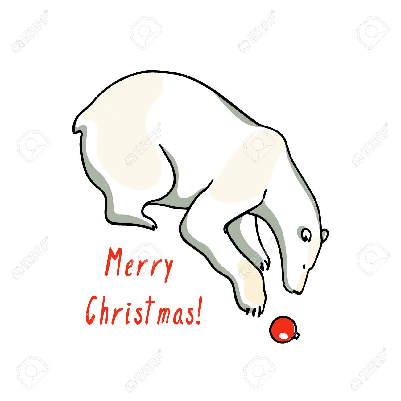 Carte De Noel Avec Dessines A La Main Mignon Ours Polaire En