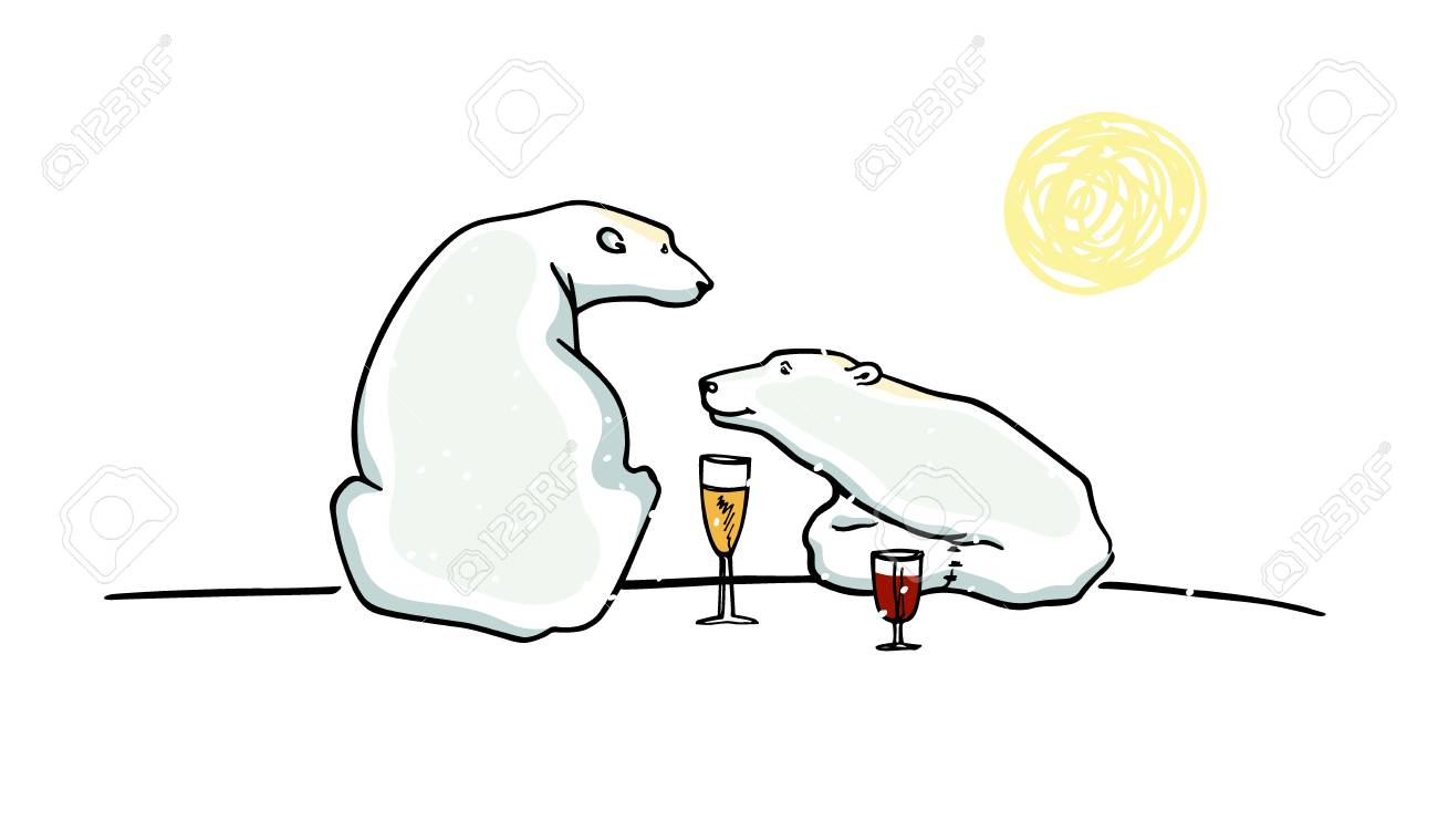 Vector Card With Hand Drawn Polar Bears