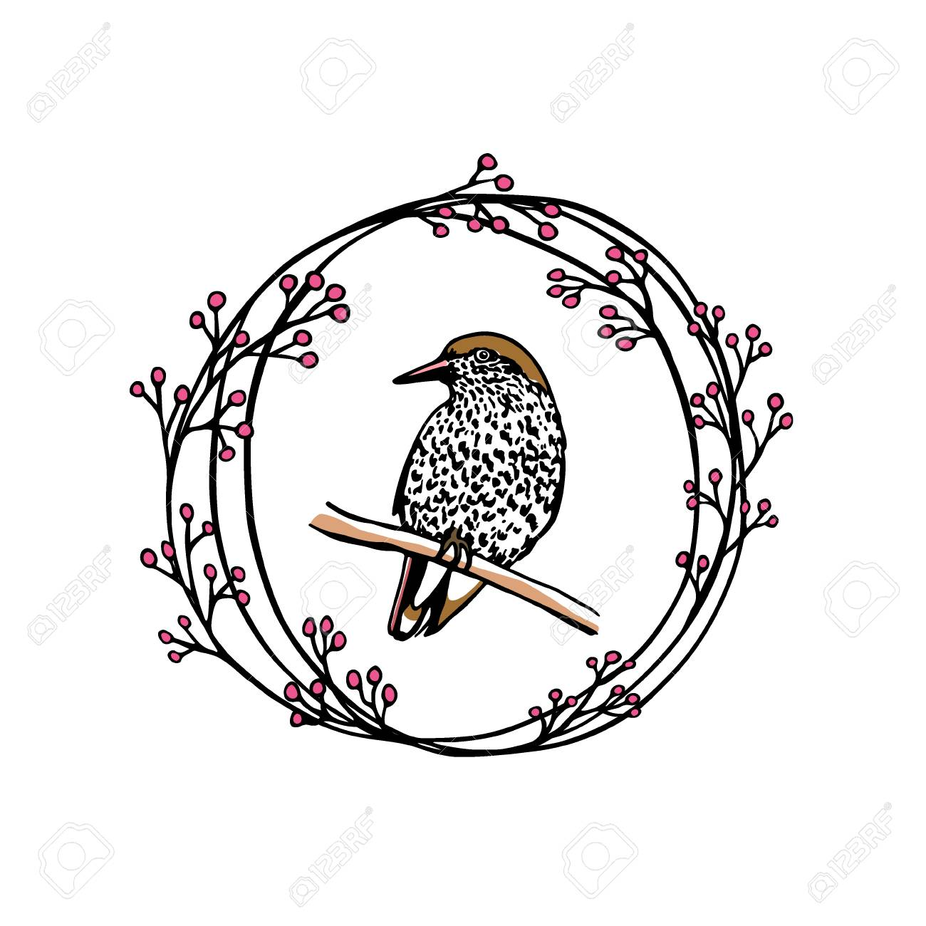 Hand Drawn Floral Wreath With A Small Bird Made In Vector. Beautiful ...
