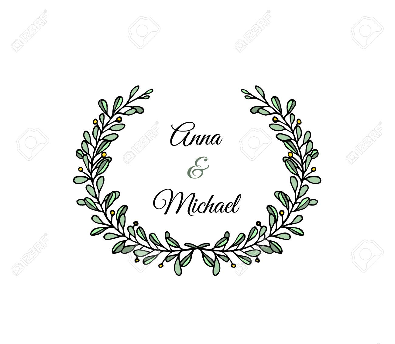 Beautiful Wedding Announcements.Illustration Of Hand Drawn Floral Wreath Beautiful Floral Design