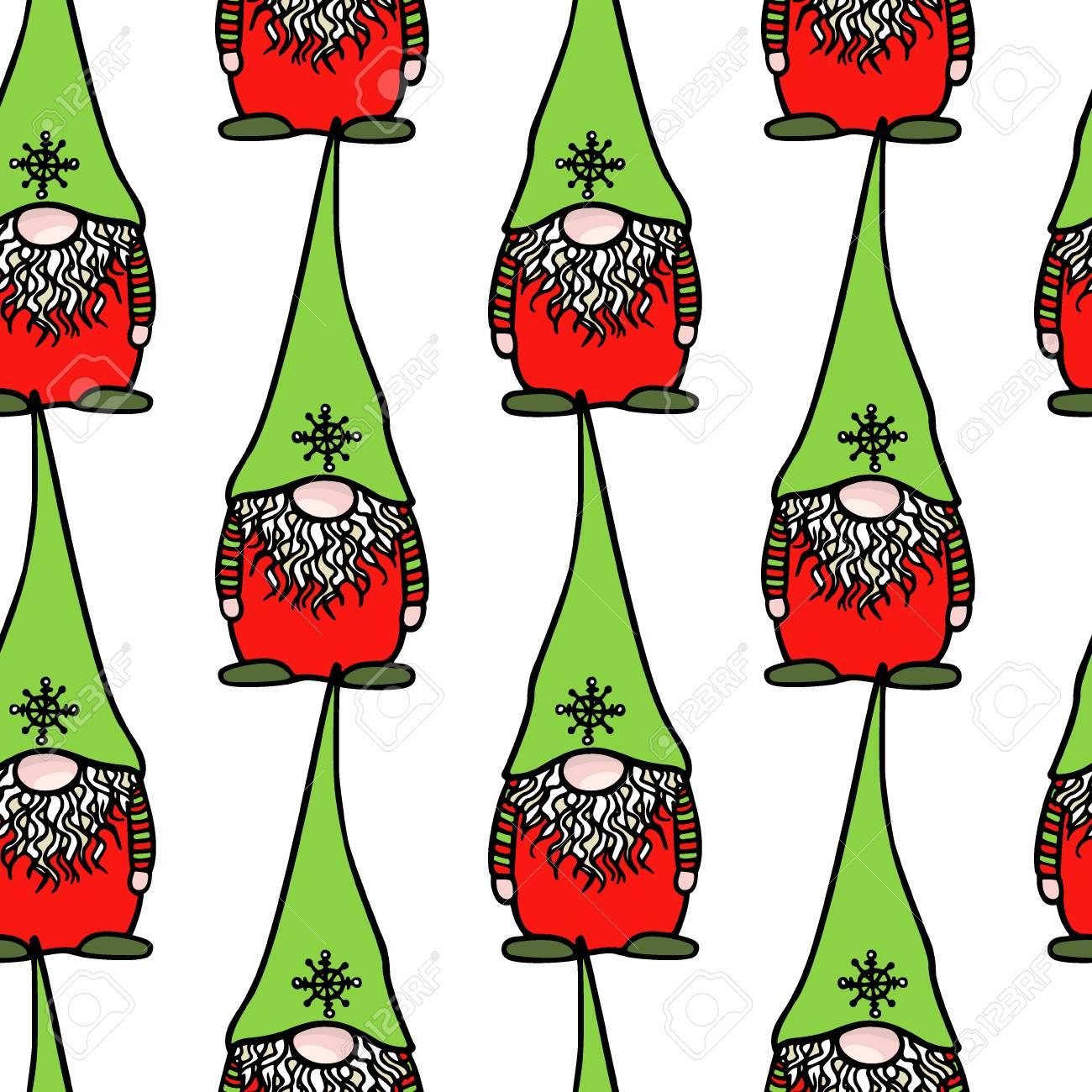 Christmas Gnomes Pattern.Hand Drawn Christmas Gnomes Pattern