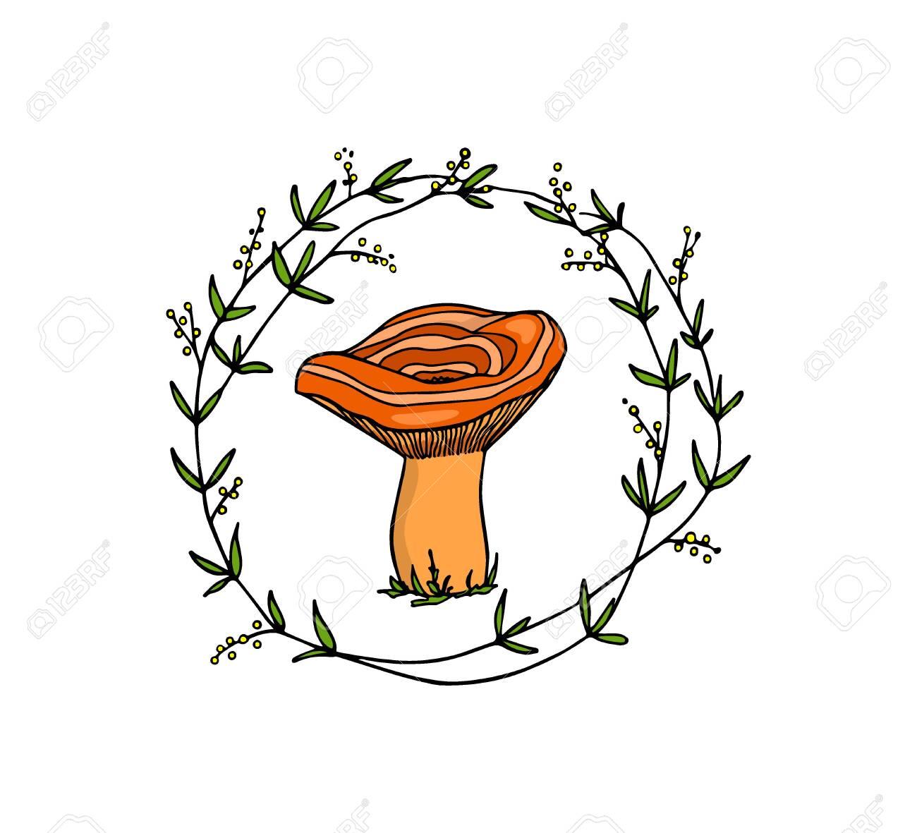 Hand drawn mushroom emblem - 132781983
