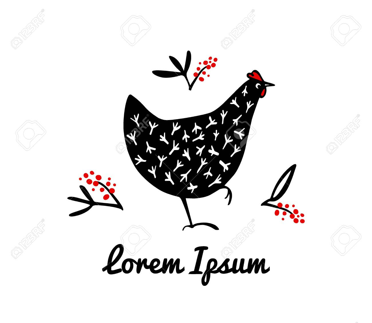 Vector illustration of hand drawn speckled hens with floral elements. Beautiful ink drawing, abstract design elements. Perfect elements for food or farming design. - 134559213