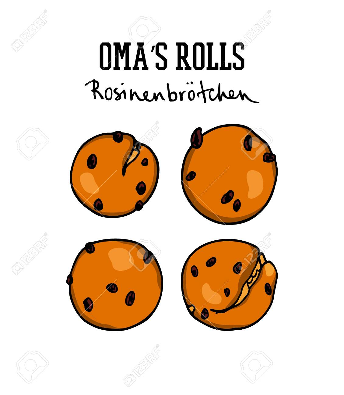Vector card with hand drawn traditional German currant buns. Ink drawing, graphic style. Beautiful food design elements. - 134559472