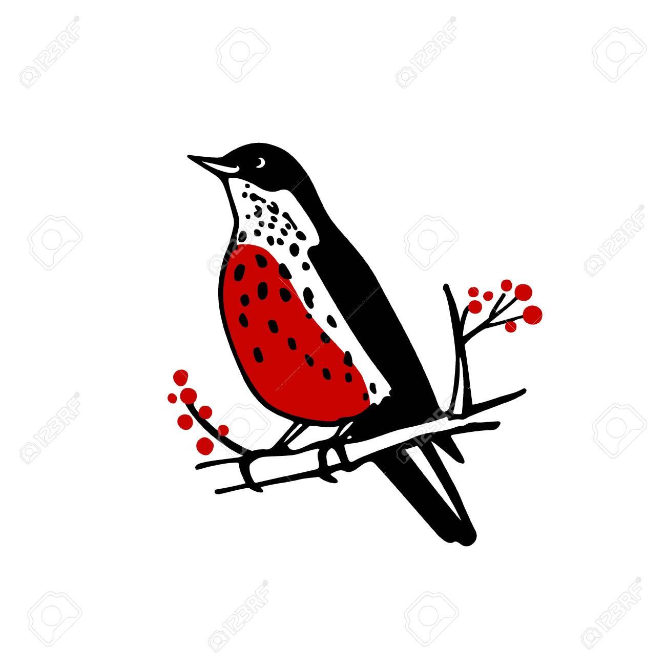 Hand drawn bird emblem - 136320165