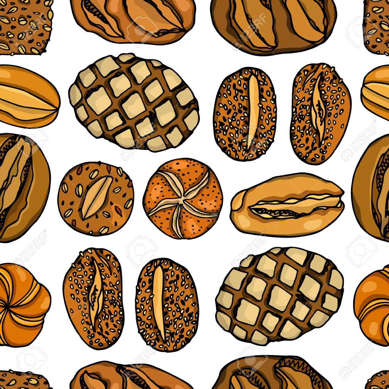 Hand drawn German bread pattern - 136320186
