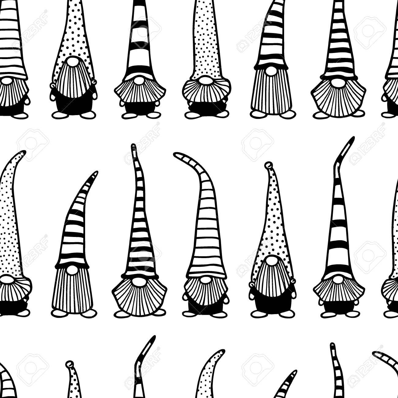 Hand drawn Christmas gnomes pattern - 136320244