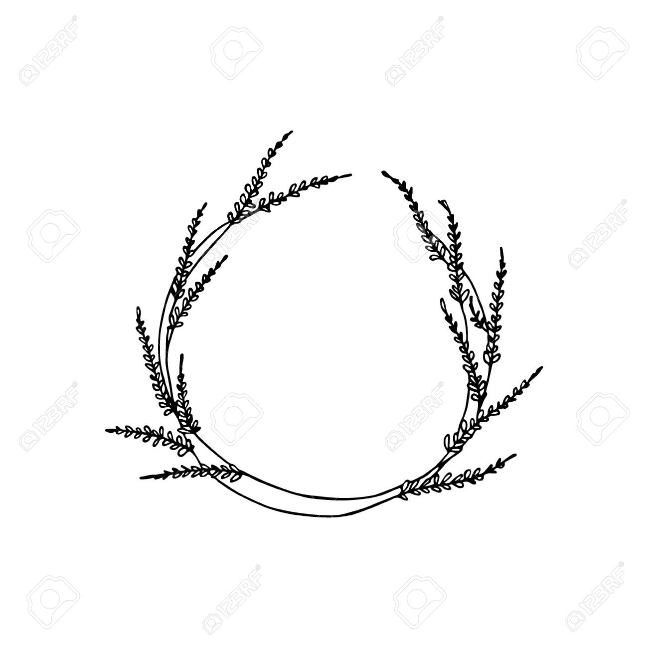 Hand drawn floral wreath - 136320248