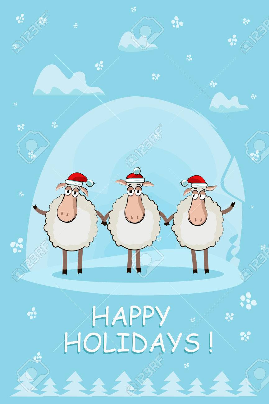 Greeting christmas card with three funny sheep a symbol of greeting christmas card with three funny sheep a symbol of 2015 stock vector 35482172 kristyandbryce Image collections