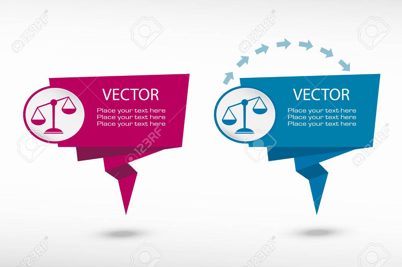 Scales of justice sign on origami paper speech bubble or web scales of justice sign on origami paper speech bubble or web banner prints vector jeuxipadfo Gallery