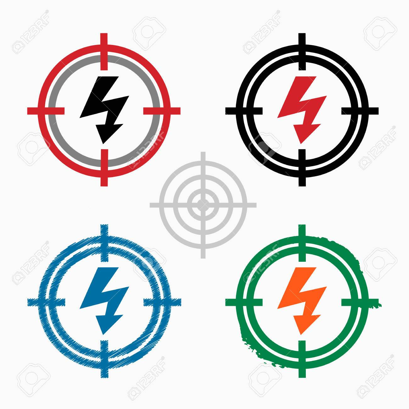 Lightning Icon On Target Icons Background Crosshair Icon Vector
