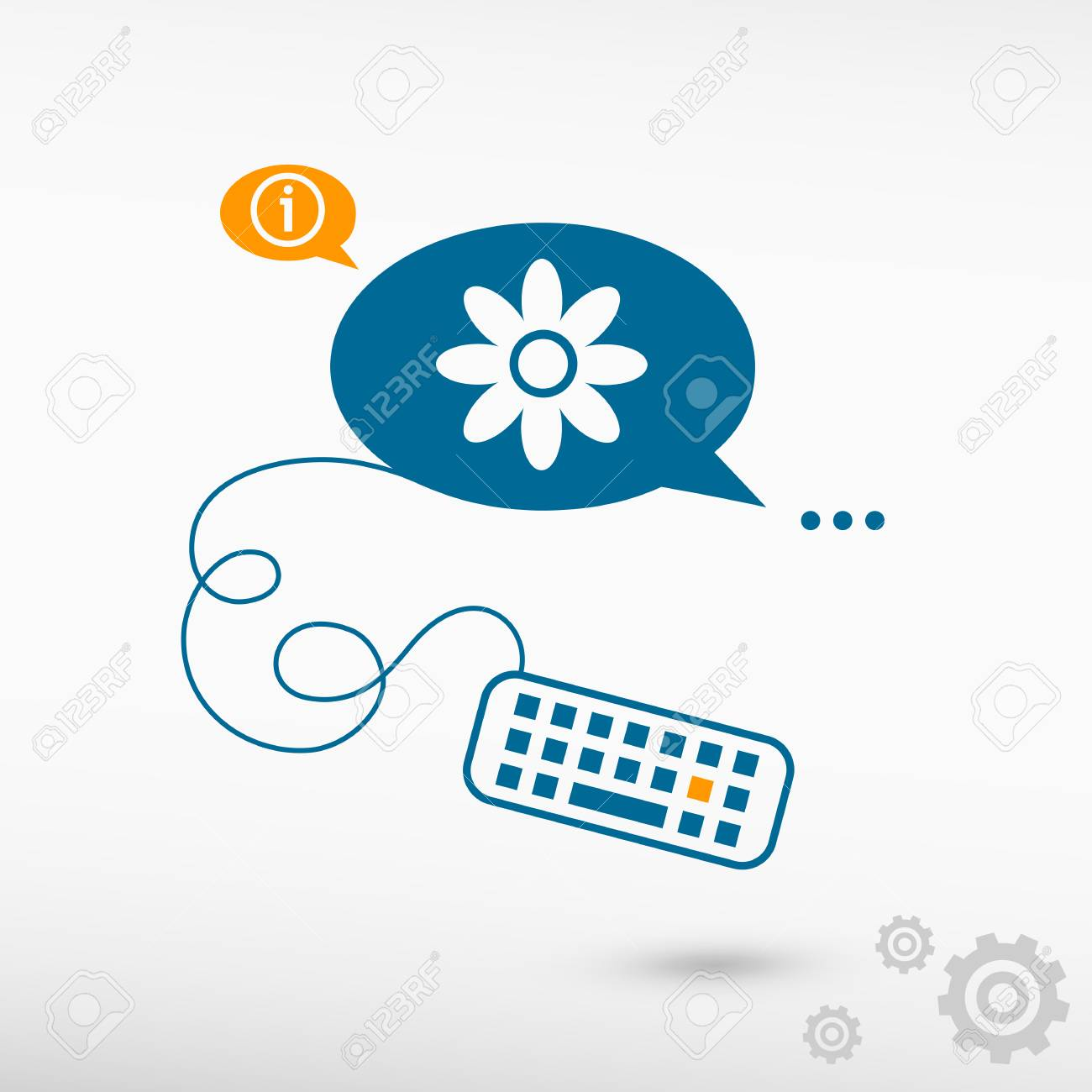 Pictograph Of Flower And Keyboard On Chat Speech Bubbles Line