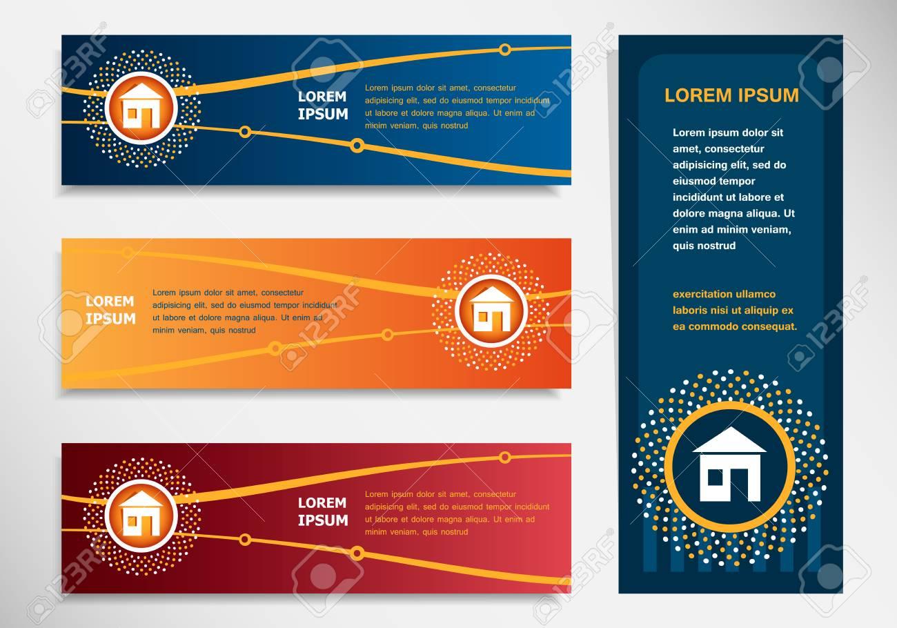 Haus-Zeichen Auf Modernen Abstrakten Flyer, Banner, Broschüre Design ...