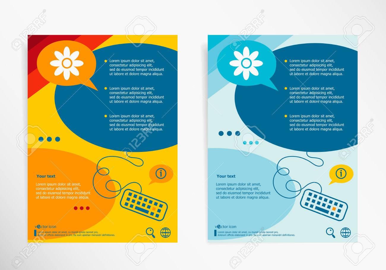 Pictograph of flower on chat speech bubbles  Modern flyer, brochure