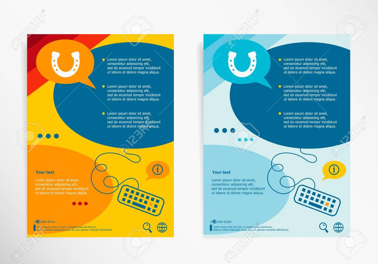 Hufeisen Auf Chat Sprechblasen Moderne Flyer Broschüre Vektor