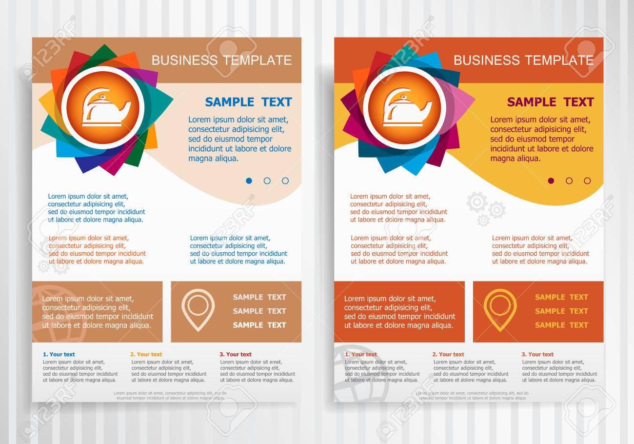 Tea Maker Symbol On Abstract Vector Brochure Template Flyer - Brochure template maker