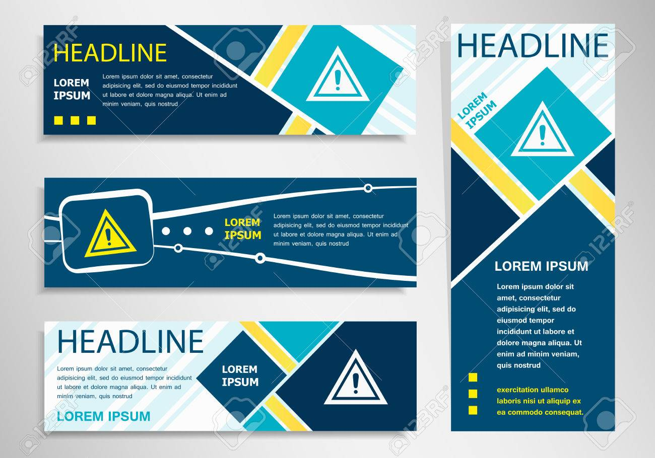 Attention Caution Sign On Horizontal And Vertical Banner. Attention ...