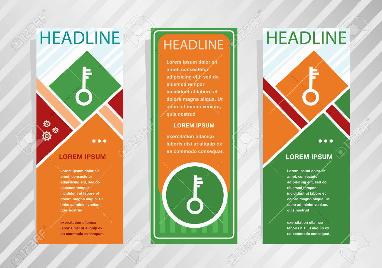 Key Icon On Vertical Banner. Modern Banner, Brochure Design ...