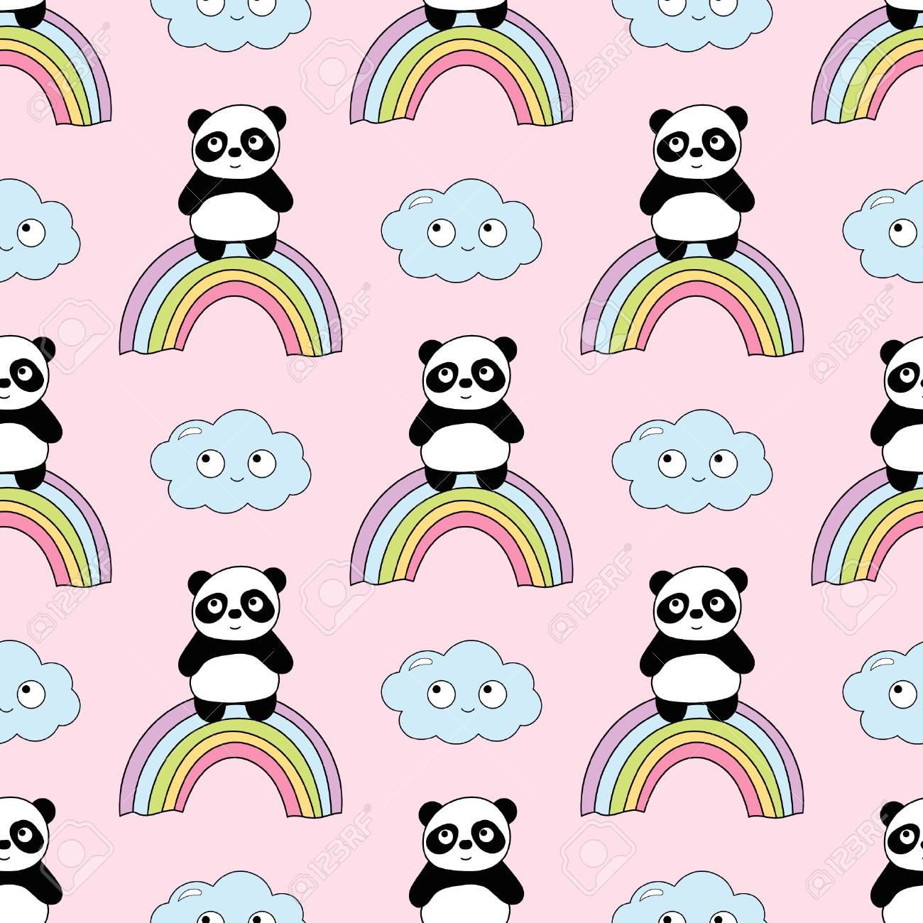seamless baby pattern with cute pandas best choice for cards
