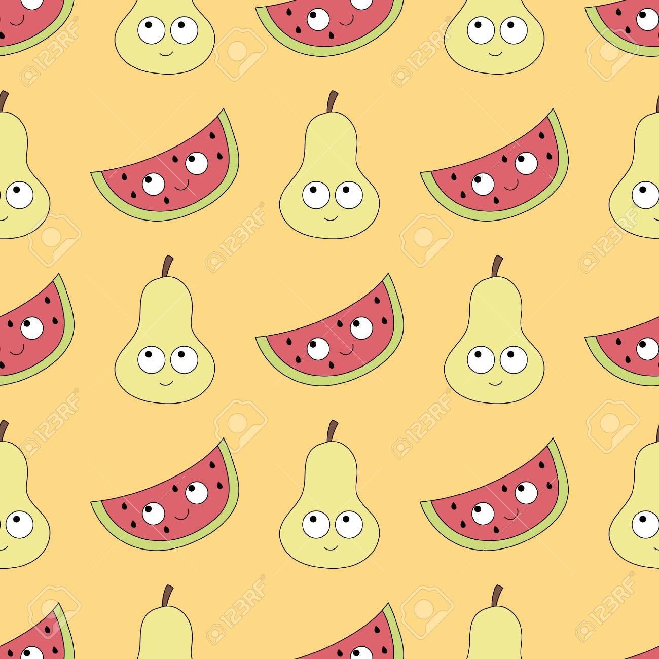 Baby Seamless Pattern With Cute Characters. Best Choice For Cards ...