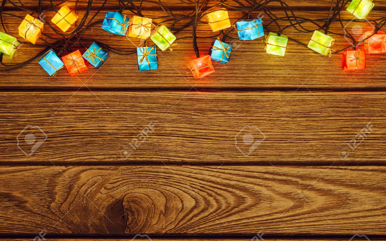 Christmas Lights Background Merry Xmas And Happy New Year Glowing
