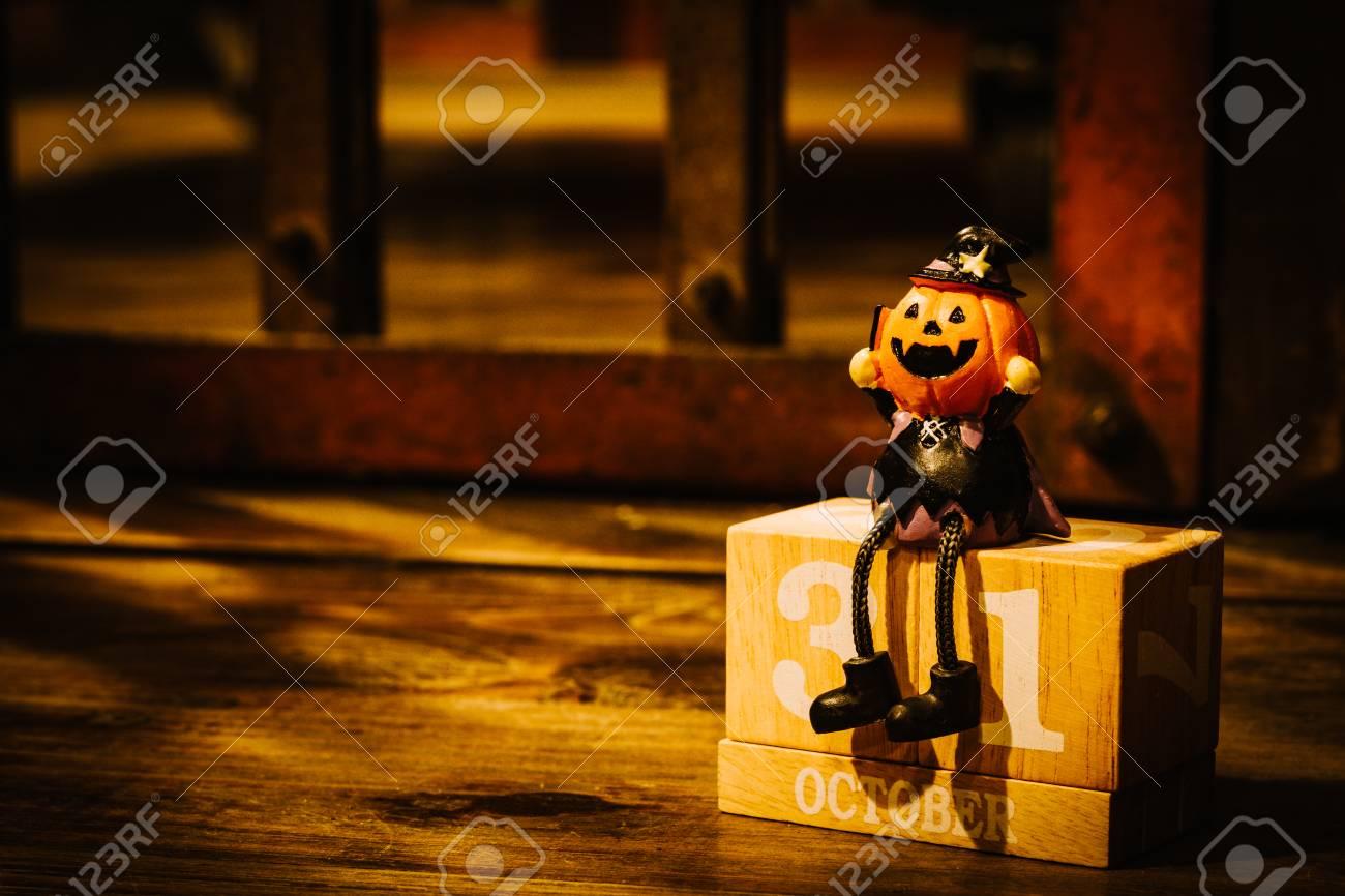 calendar date of 31 octorber, halloween holiday with pumpkin.. stock