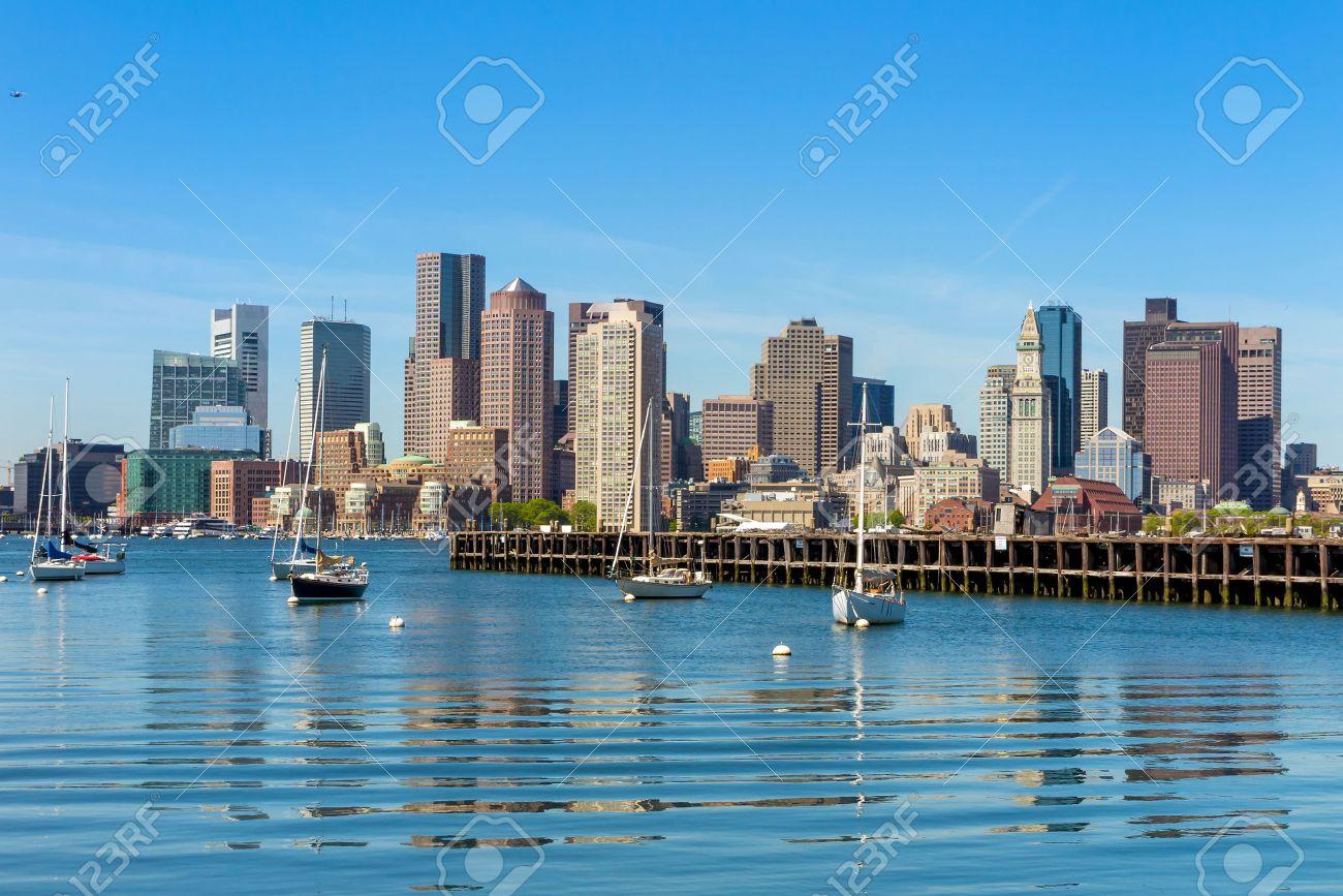 Boston skyline seen from Piers Park, Massachusetts, USA Stock Photo - 29309352