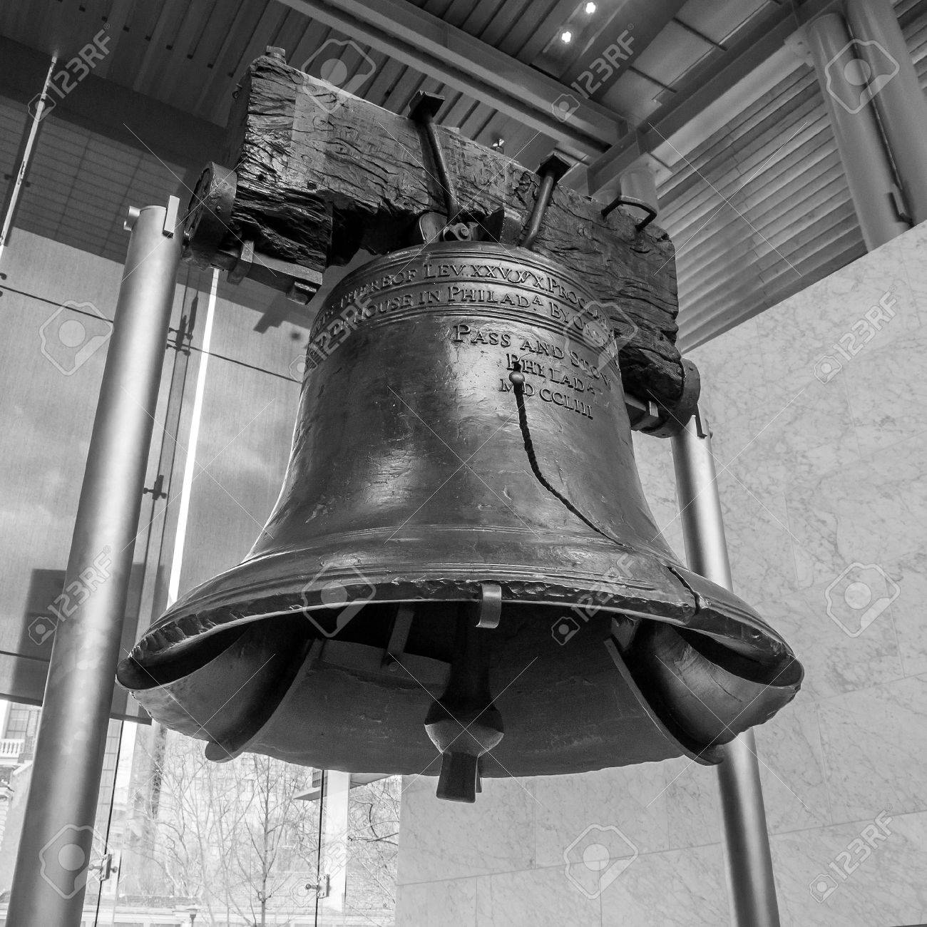 Liberty bell old symbol of american freedom in independence liberty bell old symbol of american freedom in independence mall building in philadelphia pennsylvania black and biocorpaavc Images