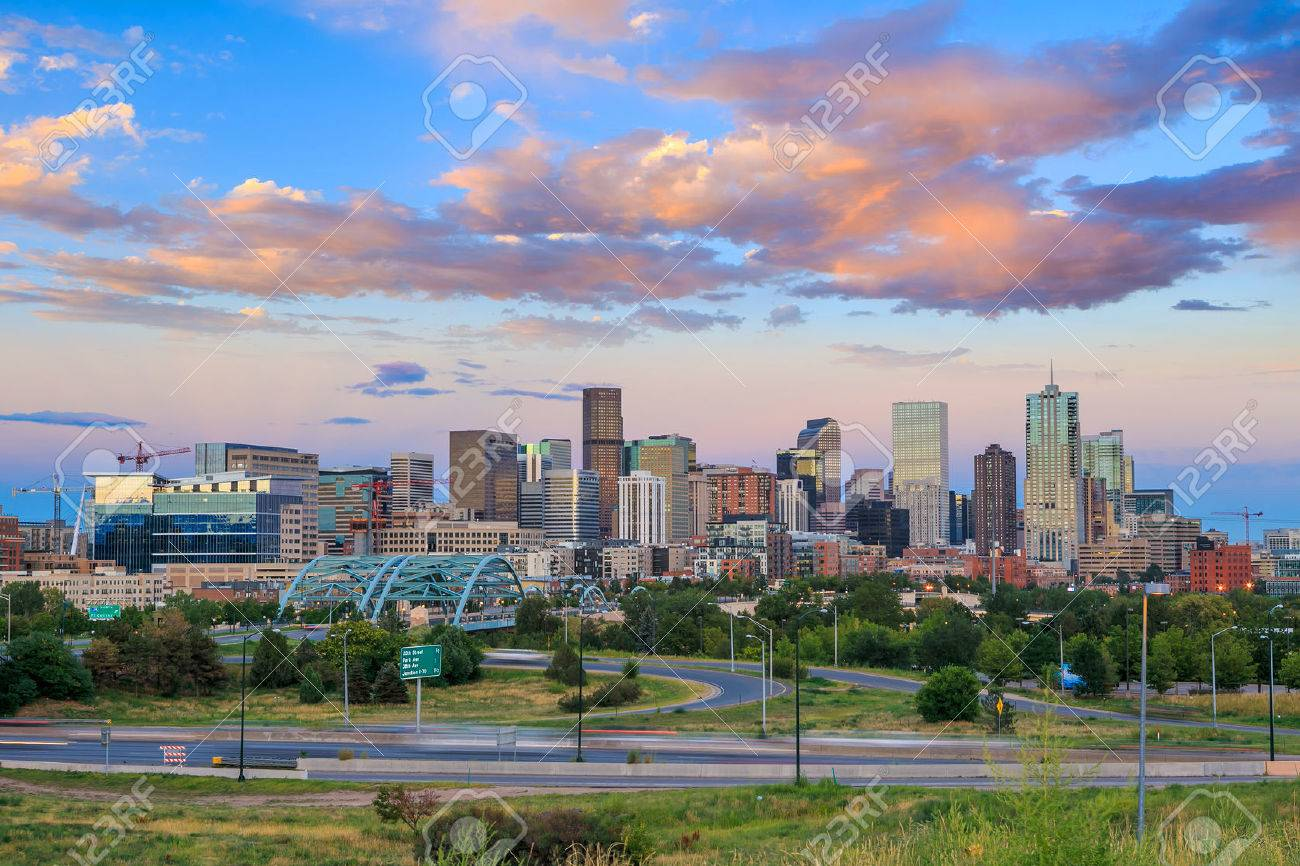 Panorama of Denver skyline long exposure at twilight. Stock Photo - 34658544