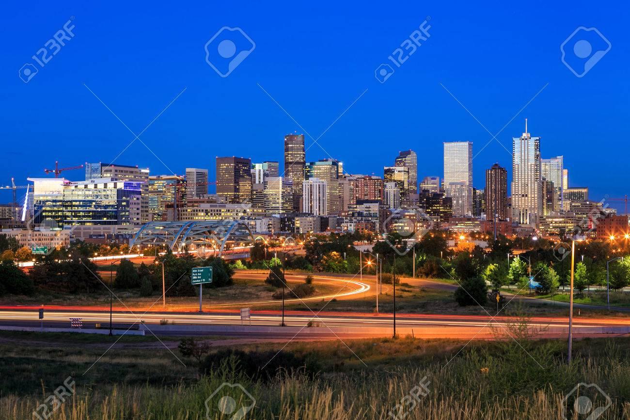 Panorama of Denver skyline long exposure at twilight. Stock Photo - 34658546