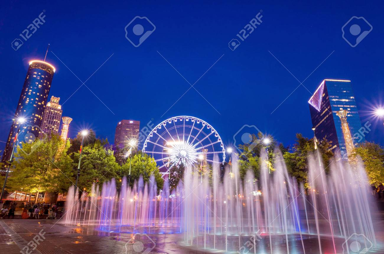 Centennial Park in Atlanta during twilight hour after sunset Stock Photo - 34686309
