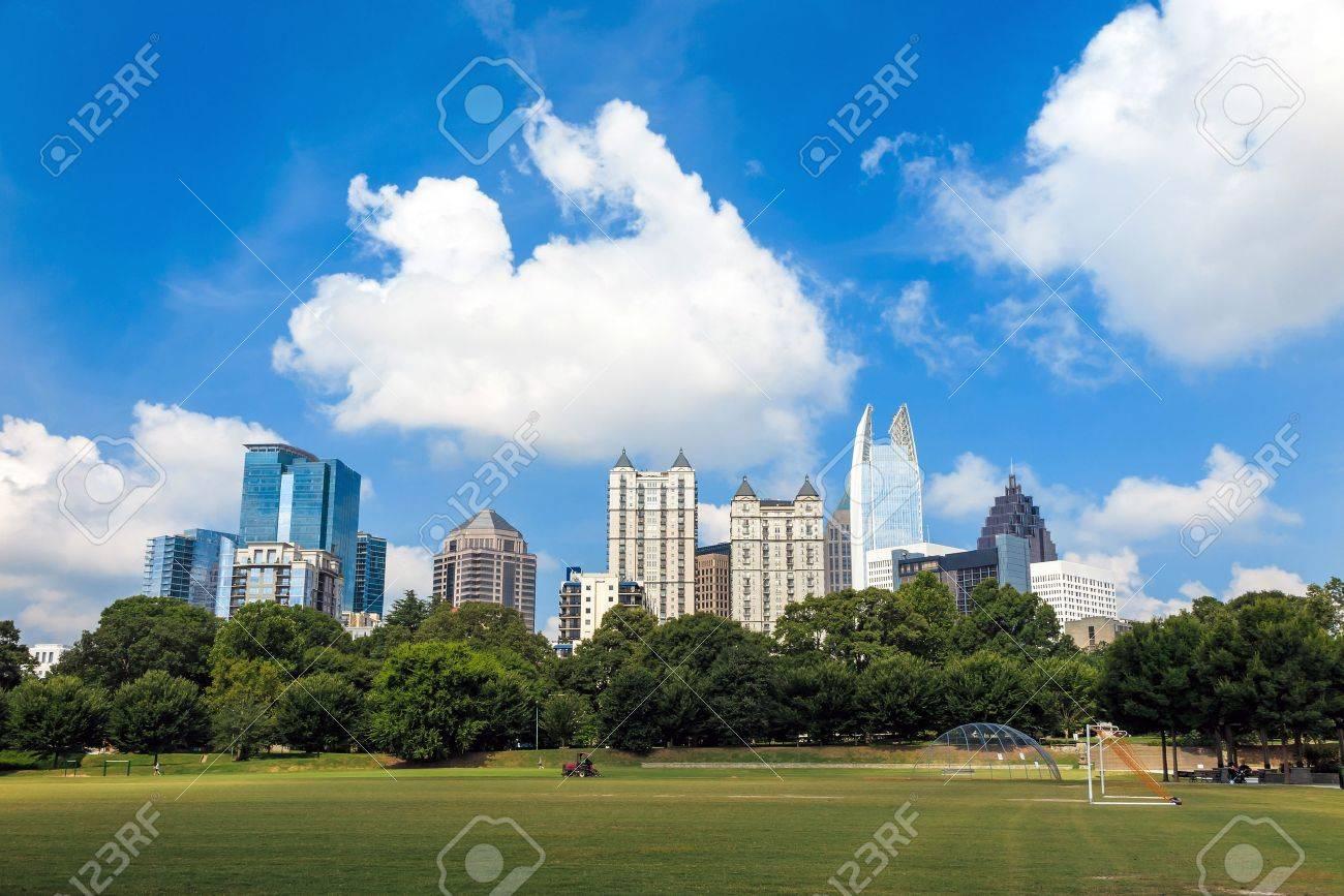 Skyline  of midtown Atlanta, Georgia  from Piedmont Park. Stock Photo - 35846396