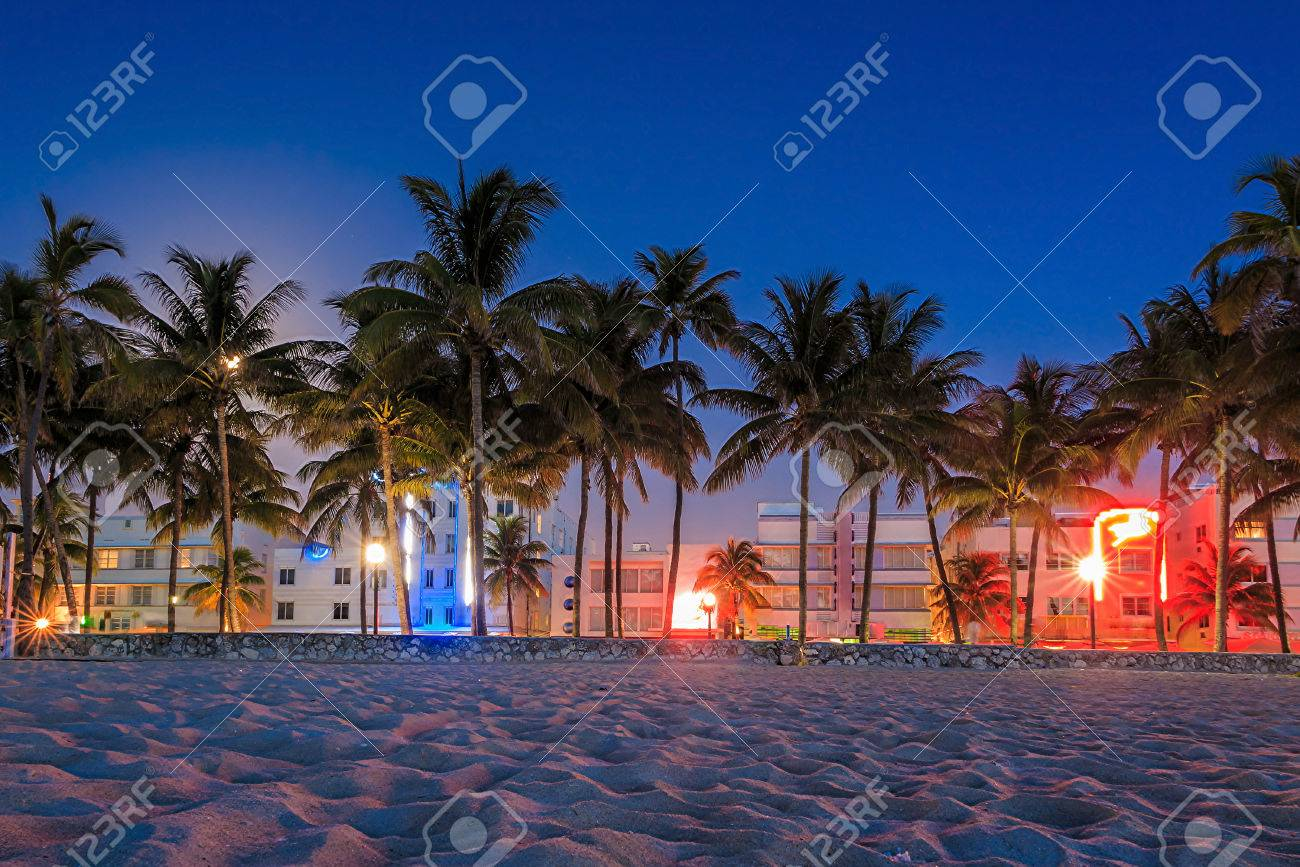 Miami Beach Florida Hotels And Restaurants At Twilight On Ocean Drive World Famous Destination