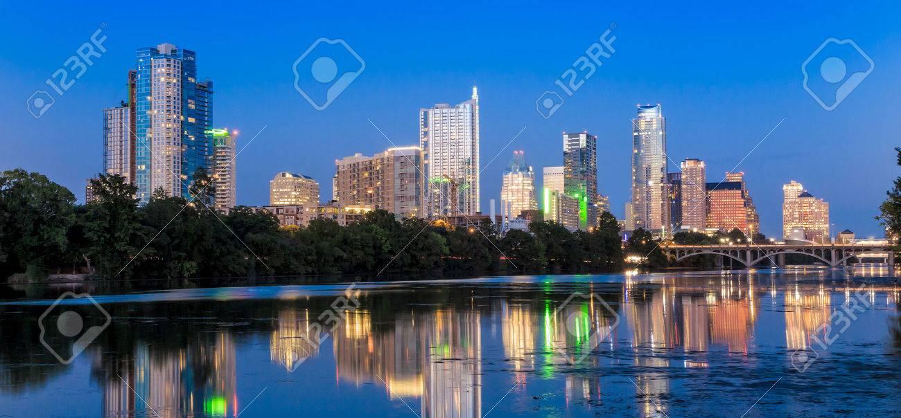 Beautiful Austin skyline reflection at twilight, Texas Stock Photo - 36660942