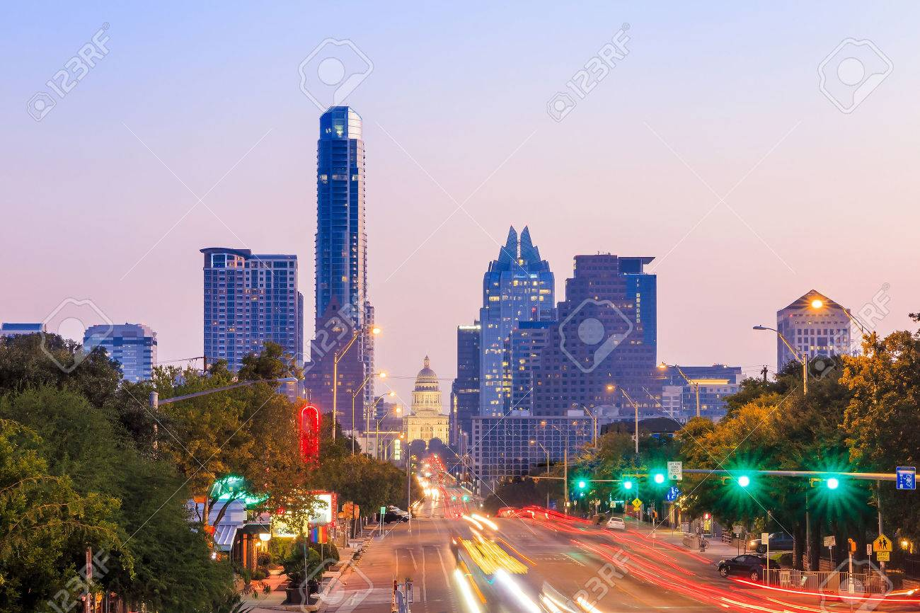 A View of the Skyline Austin, Texas at twilight Stock Photo - 36660944