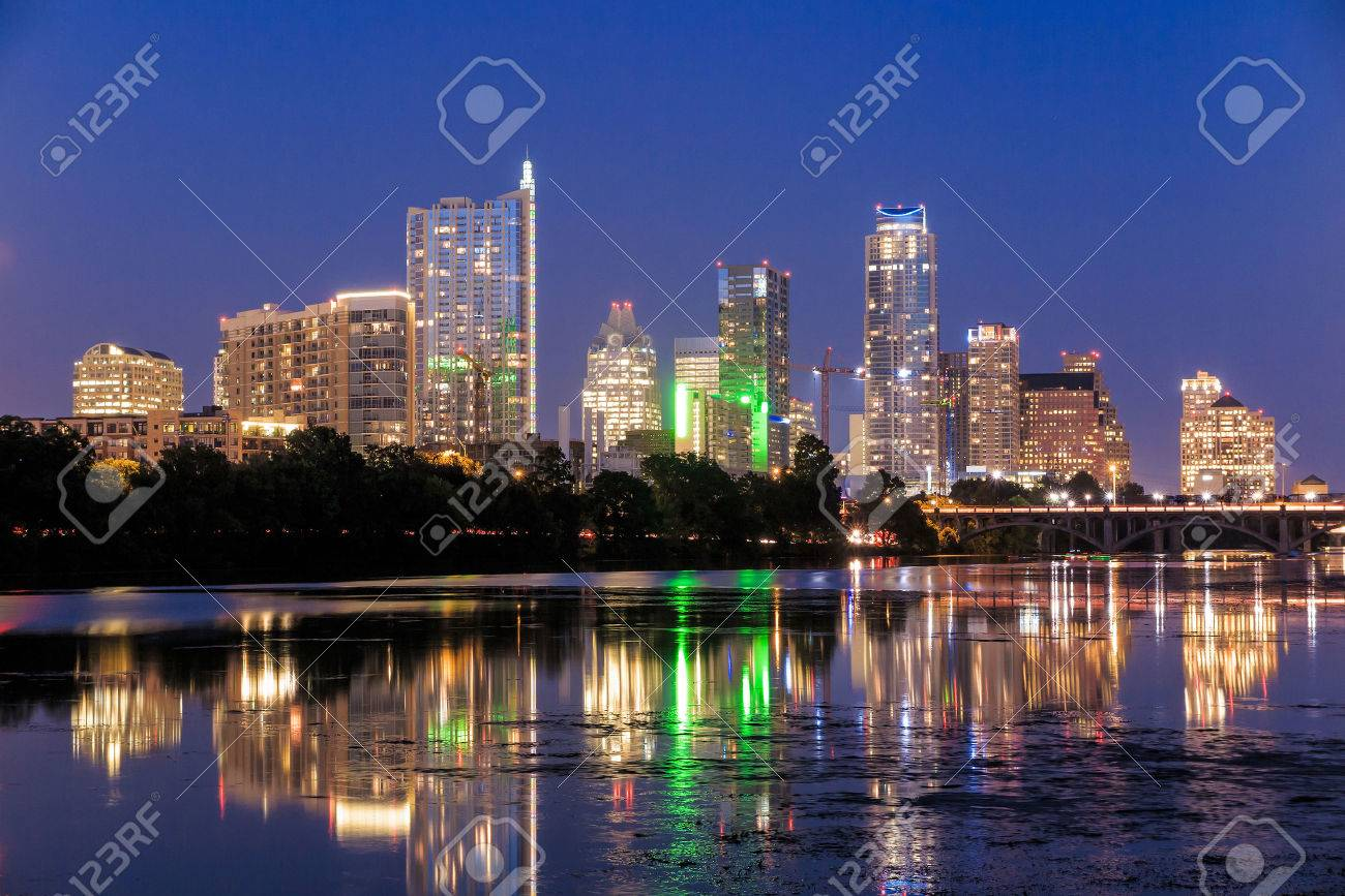 Beautiful Austin skyline reflection at twilight, Texas Stock Photo - 36661060