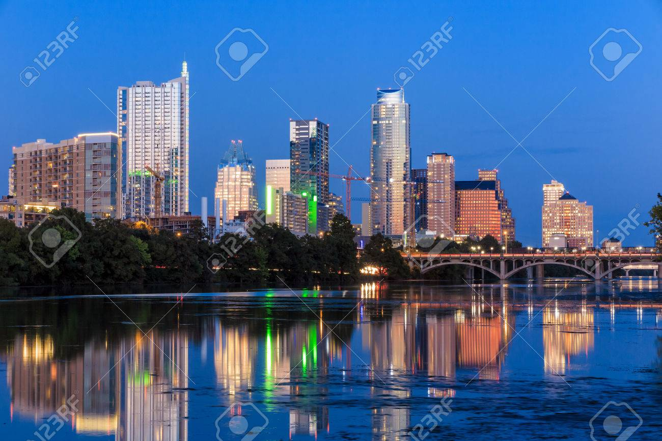 Beautiful Austin skyline reflection at twilight, Texas Stock Photo - 36661061