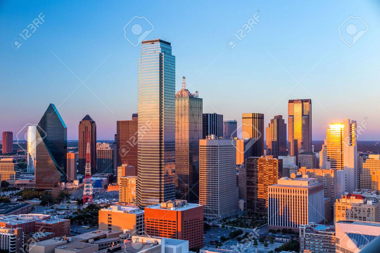 Dallas, Texas cityscape with blue sky at sunset, Texas Stock Photo - 36759135