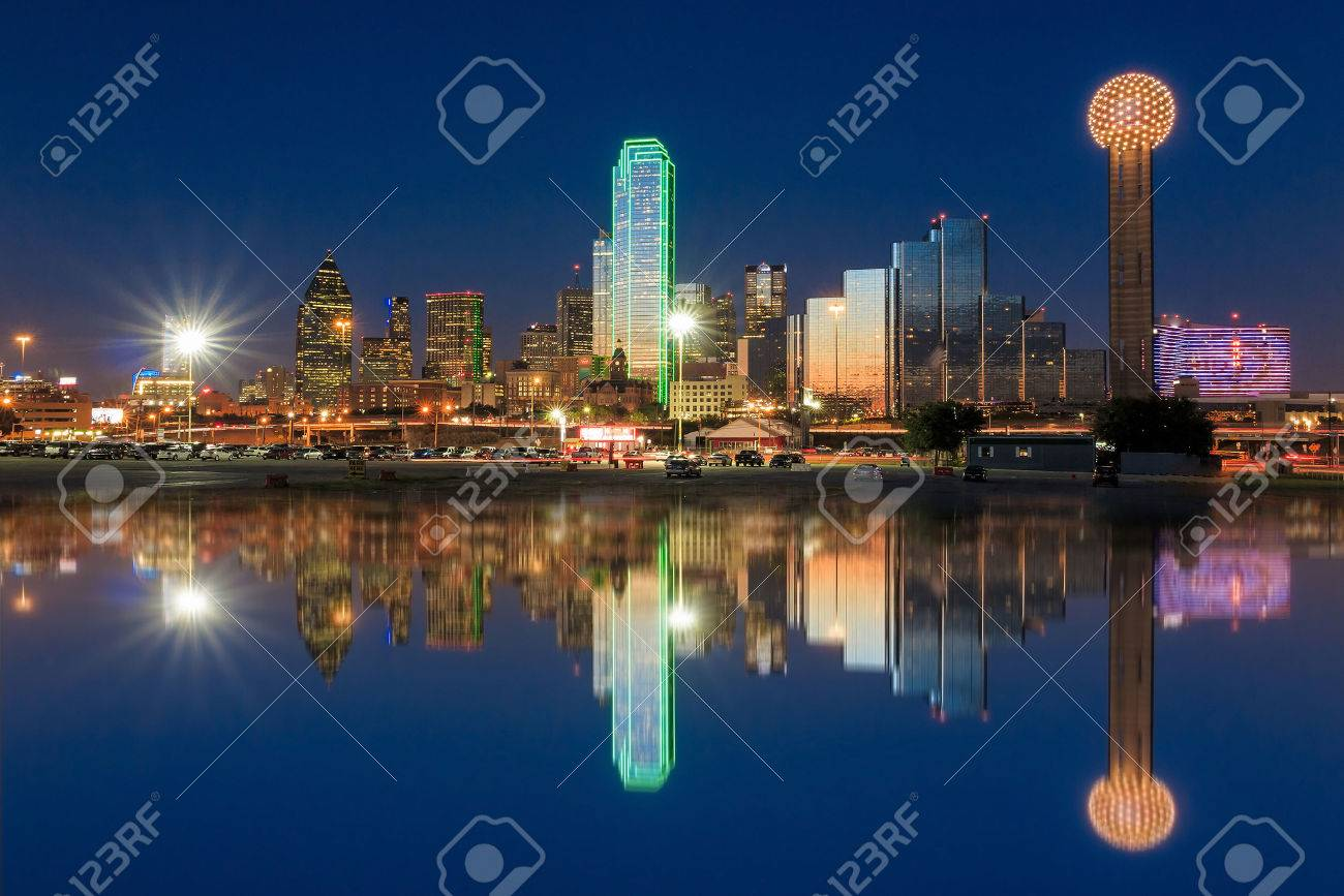 Dallas skyline reflected in Trinity River at sunset, Texas Stock Photo - 36759545