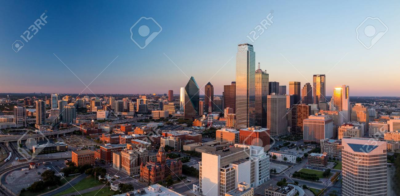Dallas, Texas cityscape with blue sky at sunset, Texas Stock Photo - 36760681