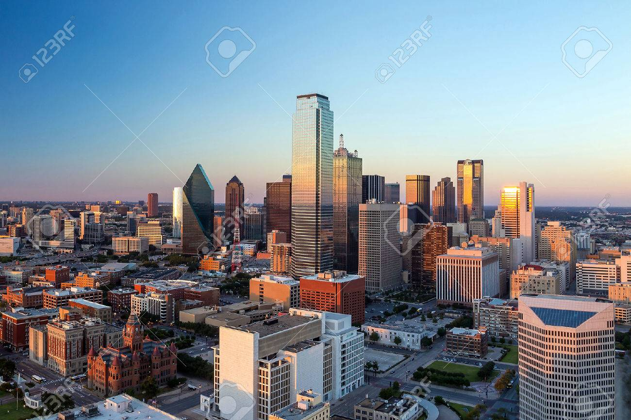 Dallas, Texas cityscape with blue sky at sunset, Texas Stock Photo - 36760682
