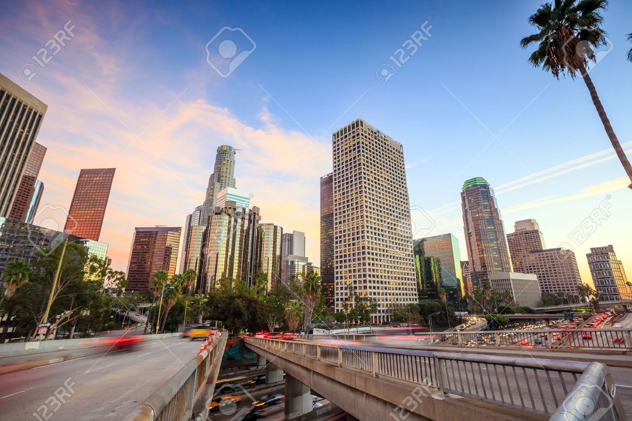 Downtown Los Angeles skyline during rush hour at sunset Stock Photo - 37314939