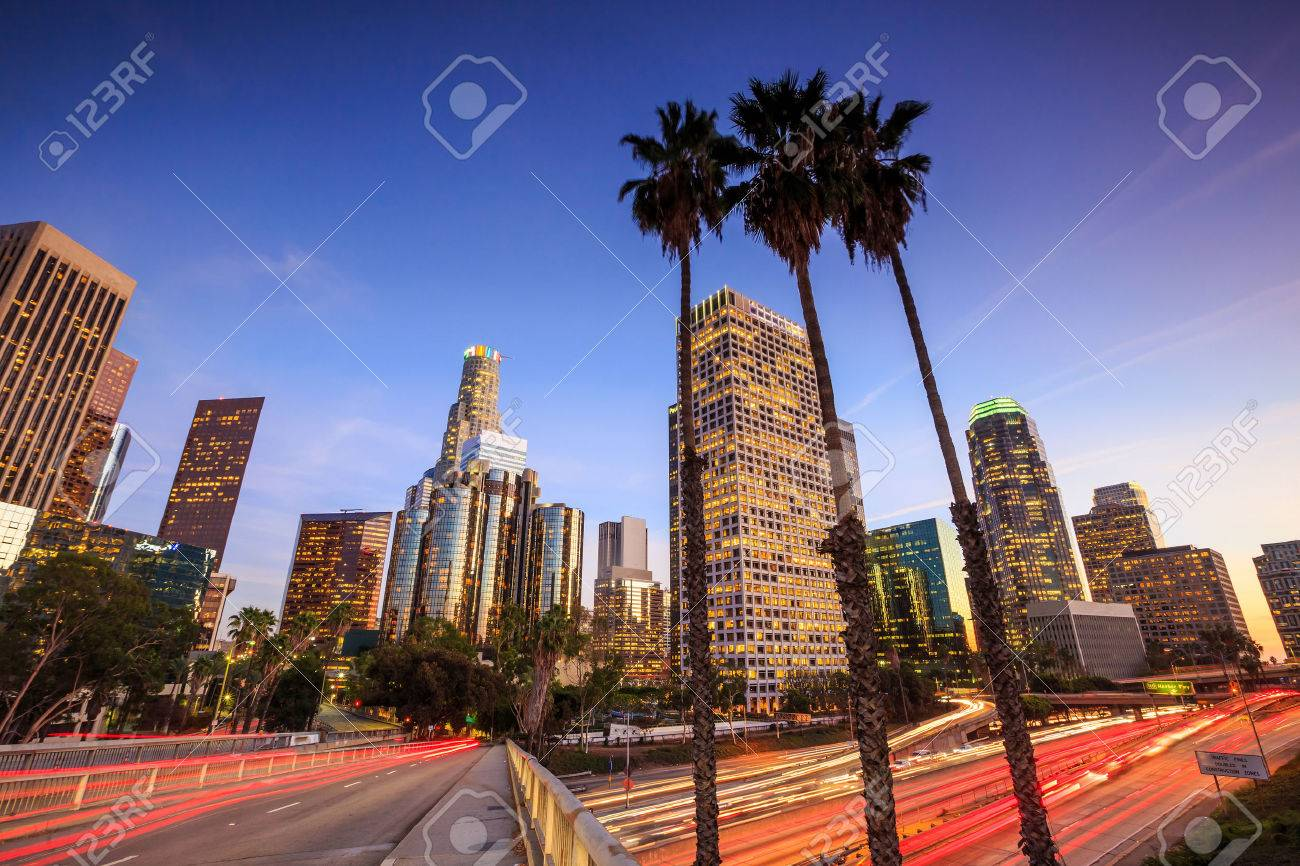 Downtown Los Angeles skyline during rush hour at sunset Stock Photo - 37286602