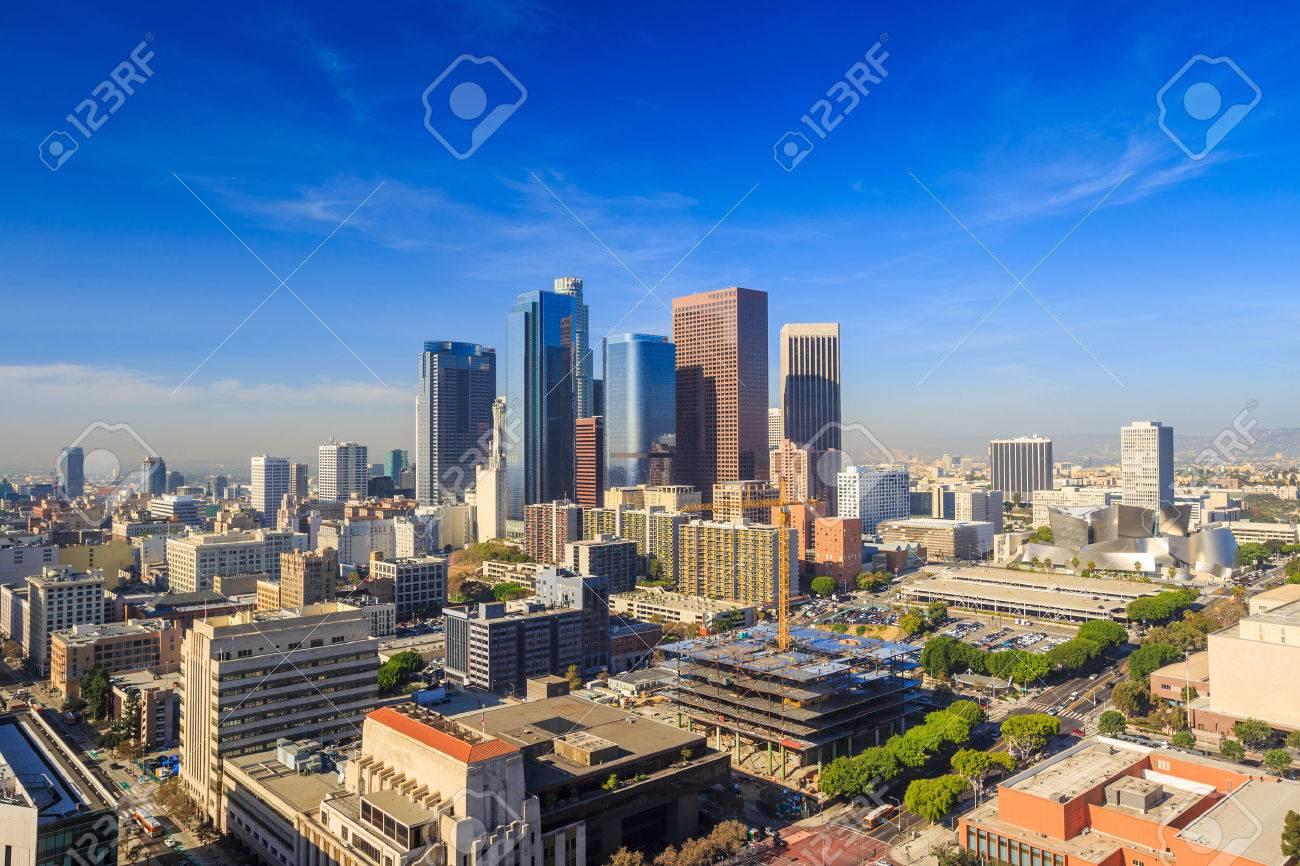 Downtown LA Los Angeles skyline cityscape California Stock Photo - 37315001