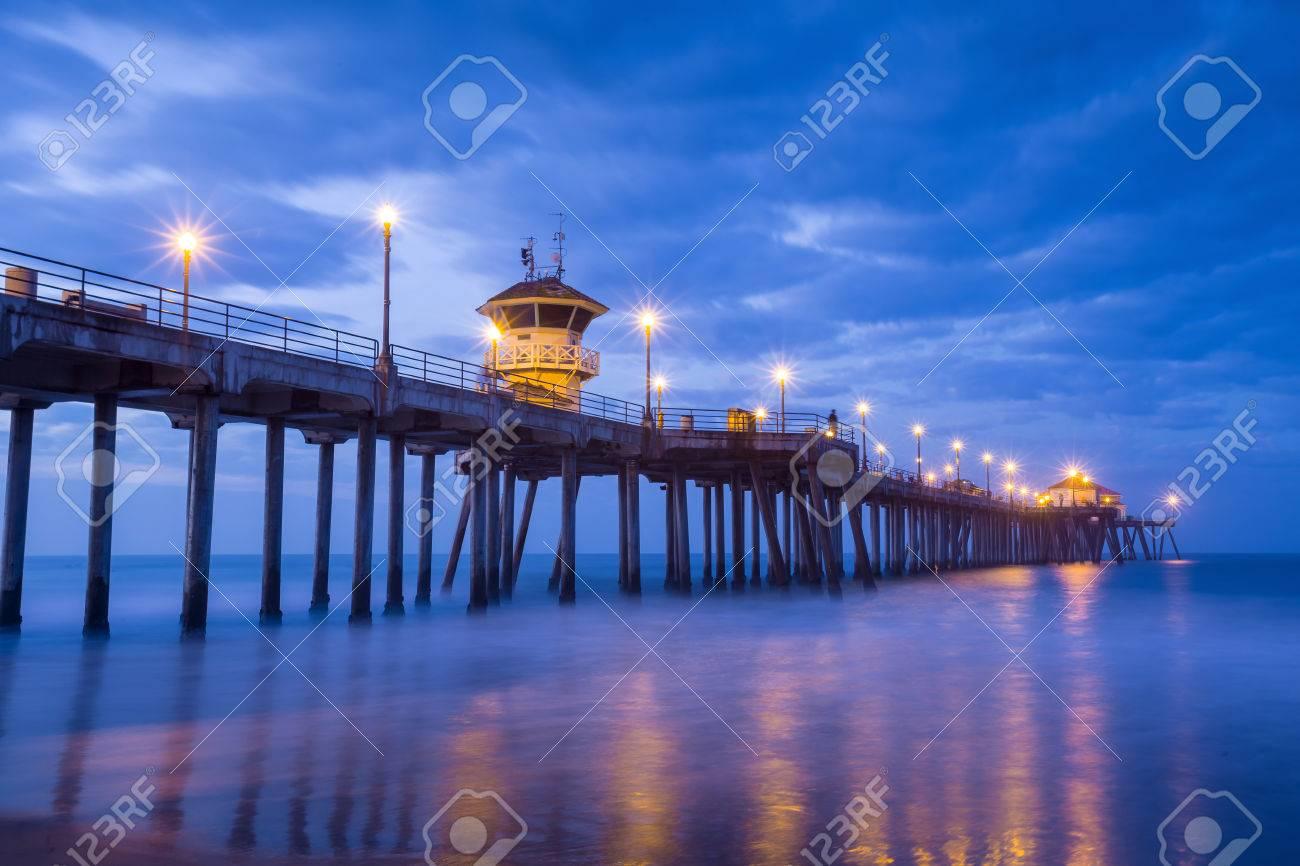the Huntington Beach pier at sunrise, CA - 37339916