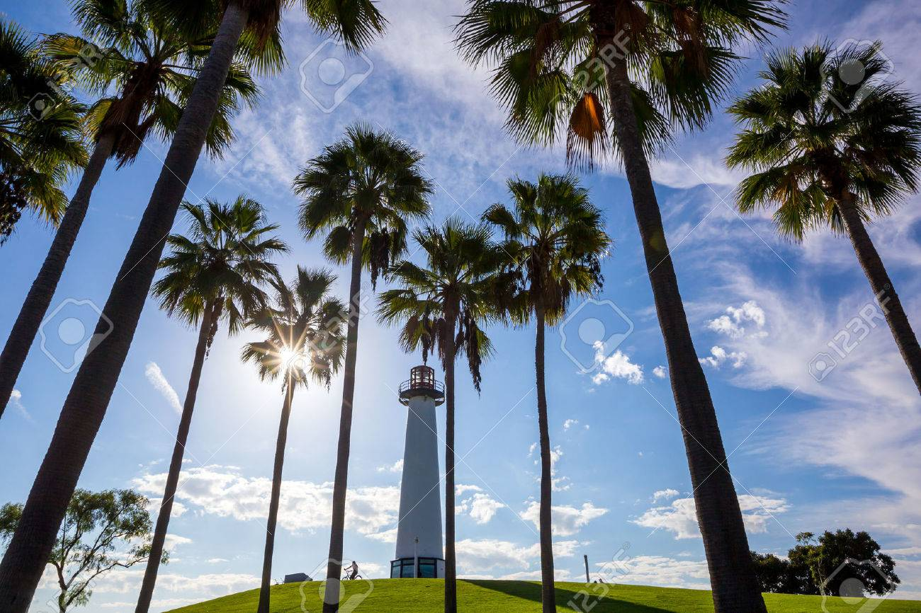 Lighthouse with palms at Long Beach, California, USA Stock Photo - 37317206