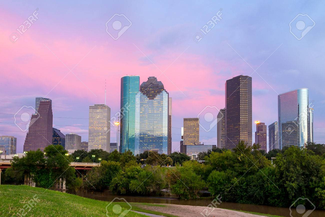 Houston, Texas  skyline at sunset twilight from park lawn Stock Photo - 37317252